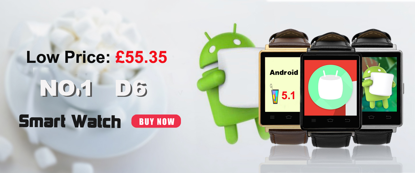 NO 1 D6 Android 5 1 system Smart watch has low price on Tinydeal